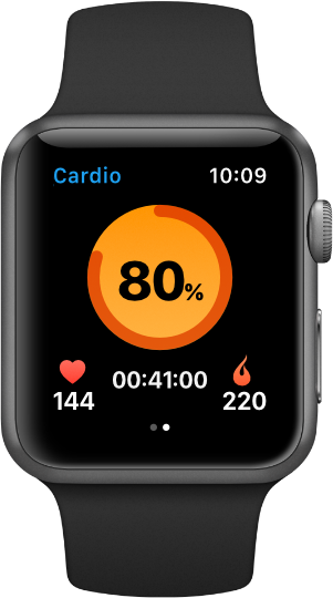 Selfloops application for Apple Watch cardio workout screen