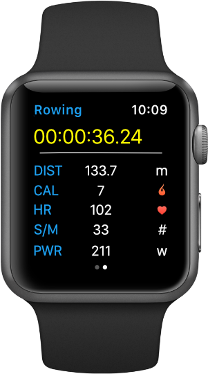 Selfloops application for Apple Watch rowing workout screen